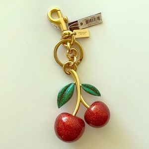 New Coach Red Cherries Key Ring with Clip